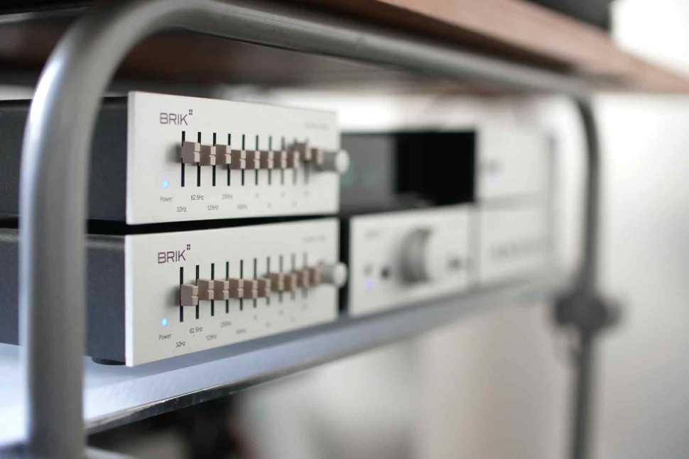 MIND WORK BRIK Mini Stereo Modules at vintage tea table