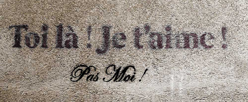 MIND WORK SIGNS OF LIFE  Toi Lá ! Je t´aime! Pas Moi! means Hey, you ! I love you! Not me!