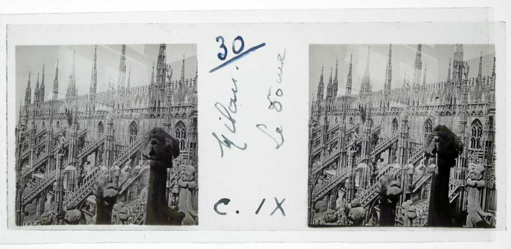 MIND WORK  Glass Positive Stereoscopy of the Milan Cathedral from 1920
