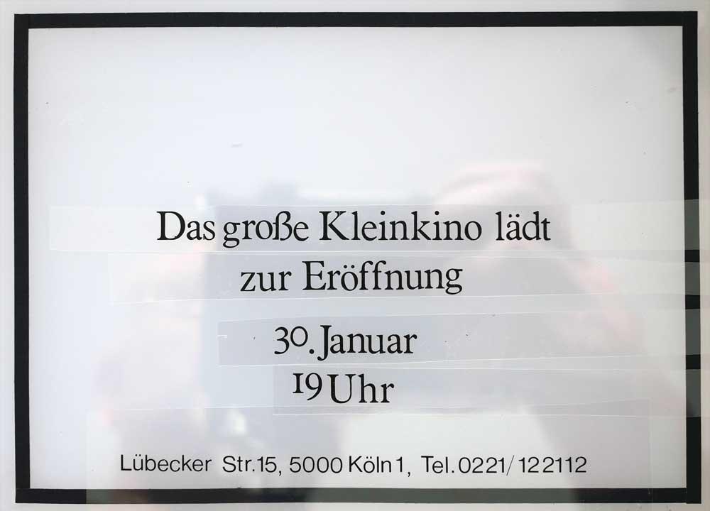 Martin Blum Mind Work Erinnerung an Heinz Cornrads photo Filmpalette Köln Lübecker Strasse Text reopening